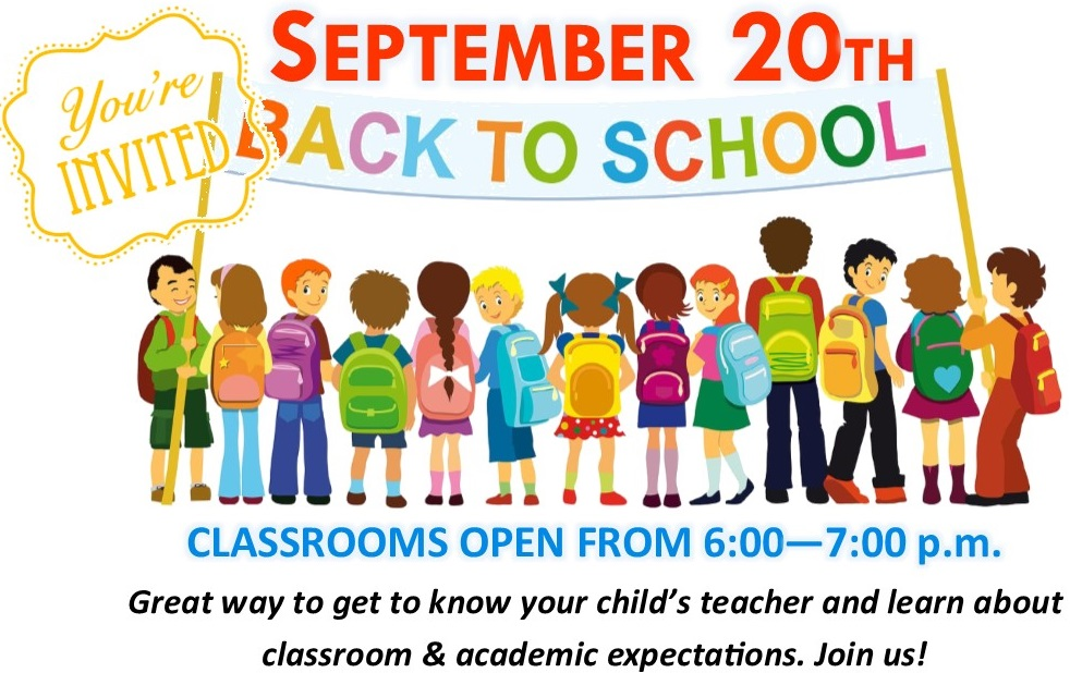 Back to School September 20 6-7 pm