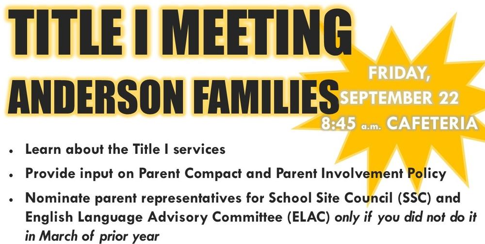 Title I Meeting Friday September 22 at 8 45 am